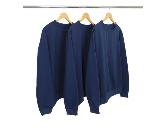 Kit 3 Blusões de Moletom Azul Marinho