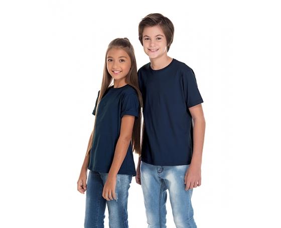 Camiseta Juvenil de Algodão Penteado Azul Marinho