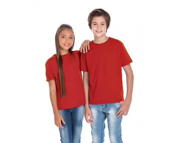 Camiseta Juvenil de Algodão Penteado Vermelha