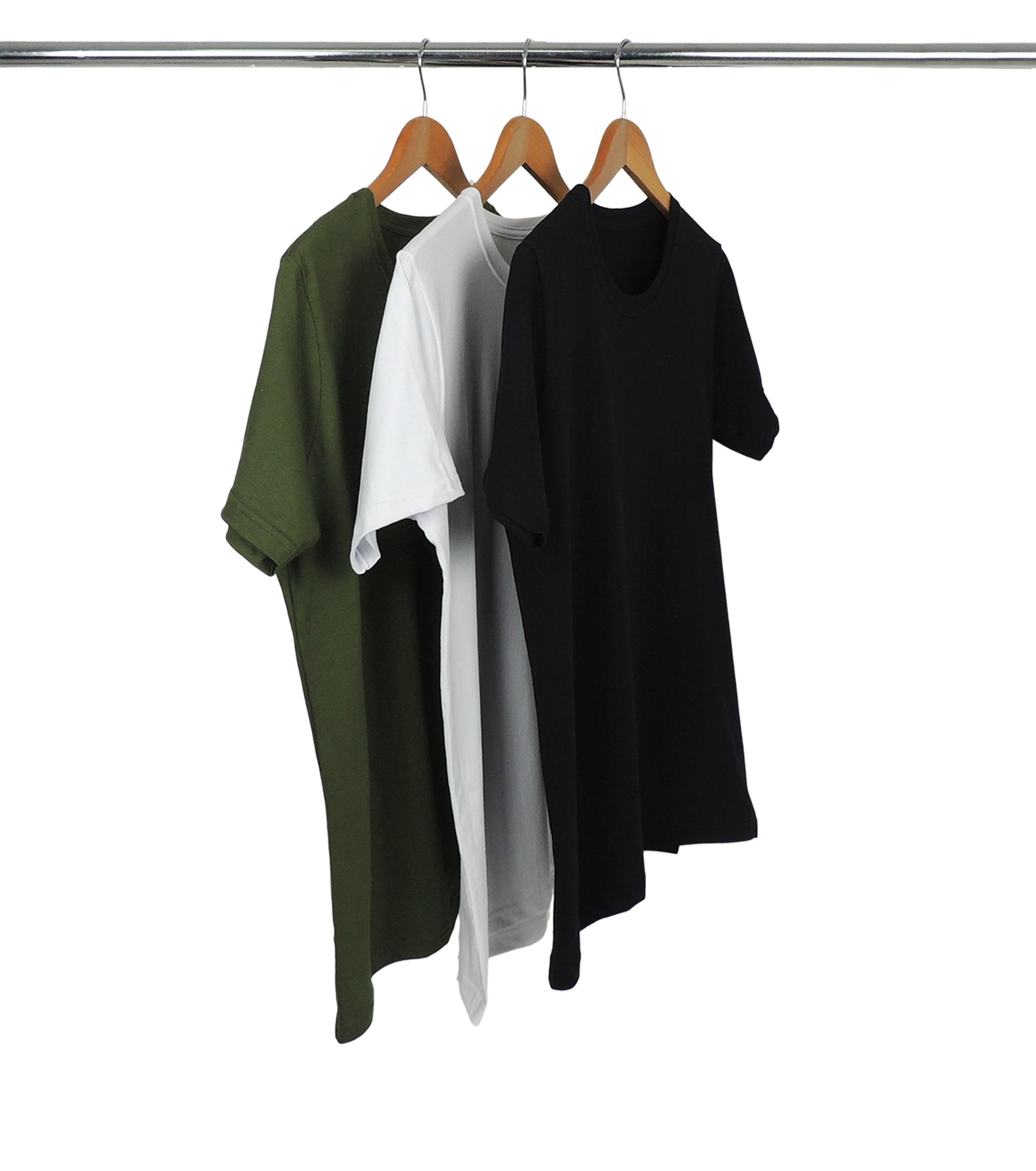 Combo 3 Camisetas de Algodão Multicolor Militar