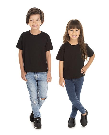 5 PEÇAS - Camiseta Infantil de Algodão Penteado Preta