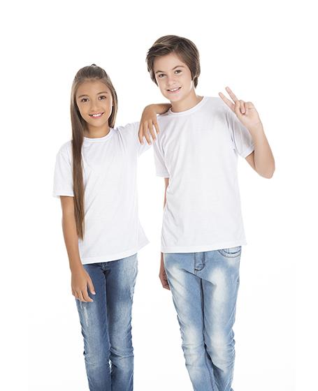 5 PEÇAS - Camiseta Juvenil de Poliéster / Sublimática Branca
