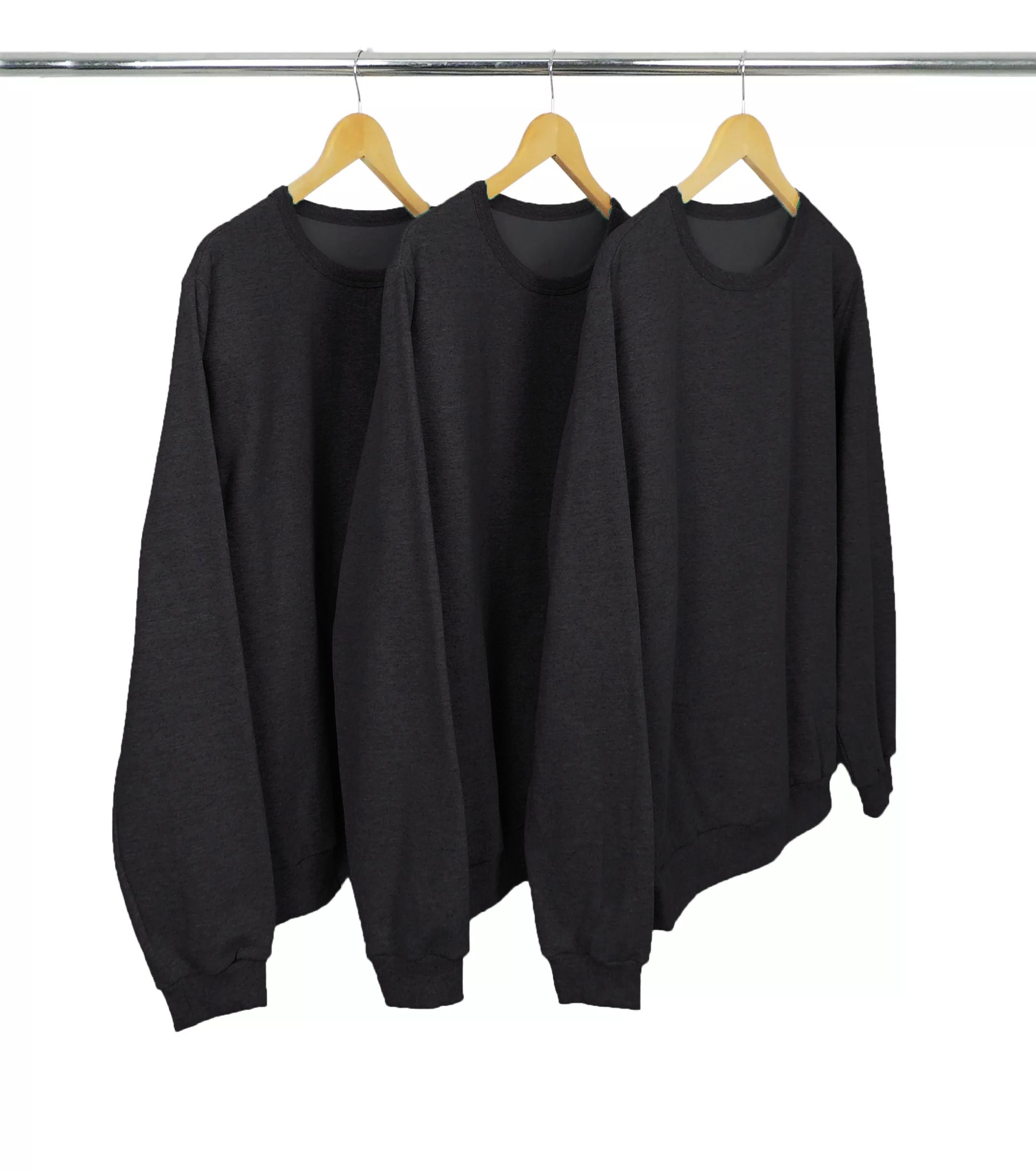 Kit 3 Blusões de Moletom Preto Mescla