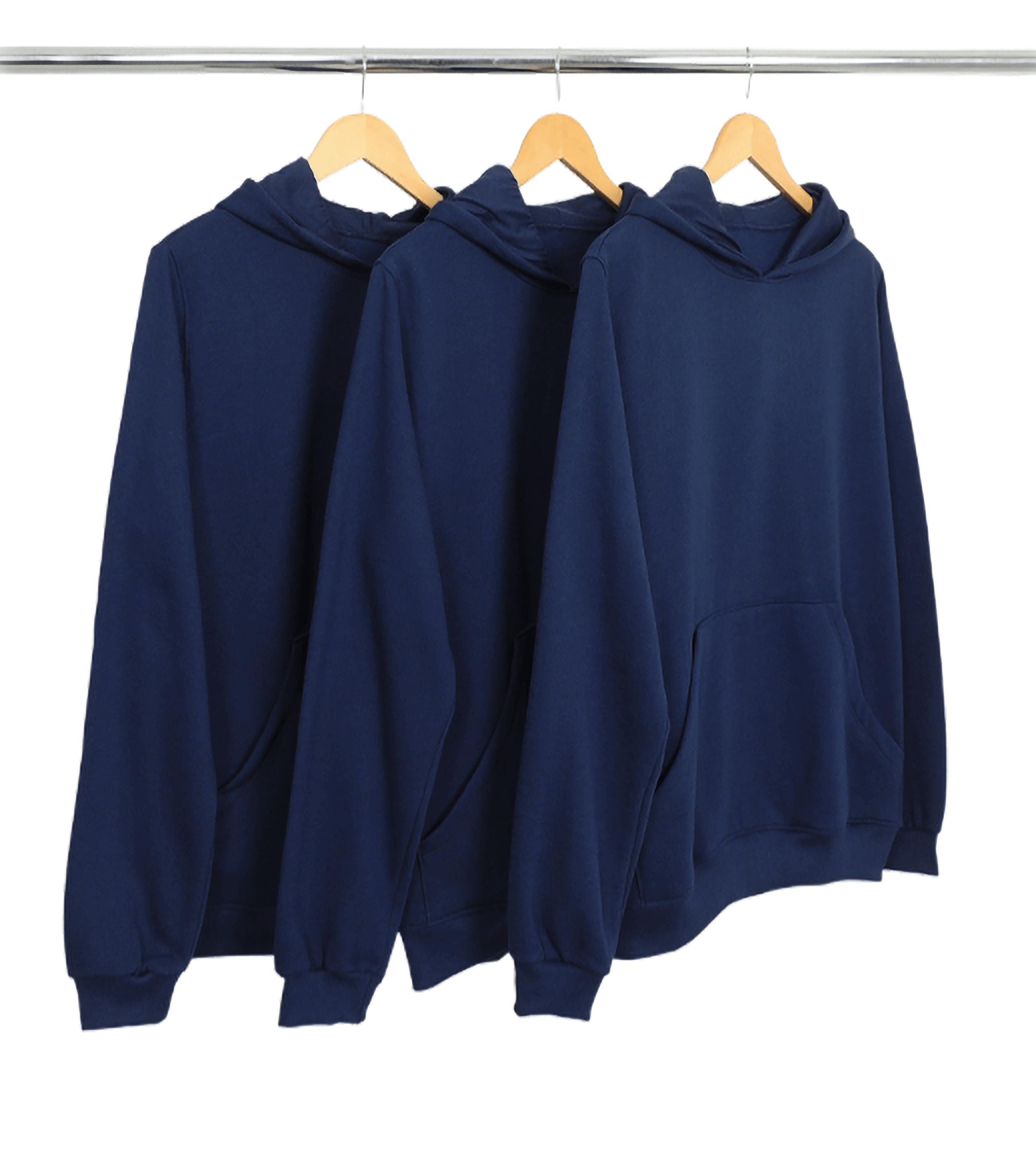 Kit 3 Moletons Canguru com Capuz Azul Marinho