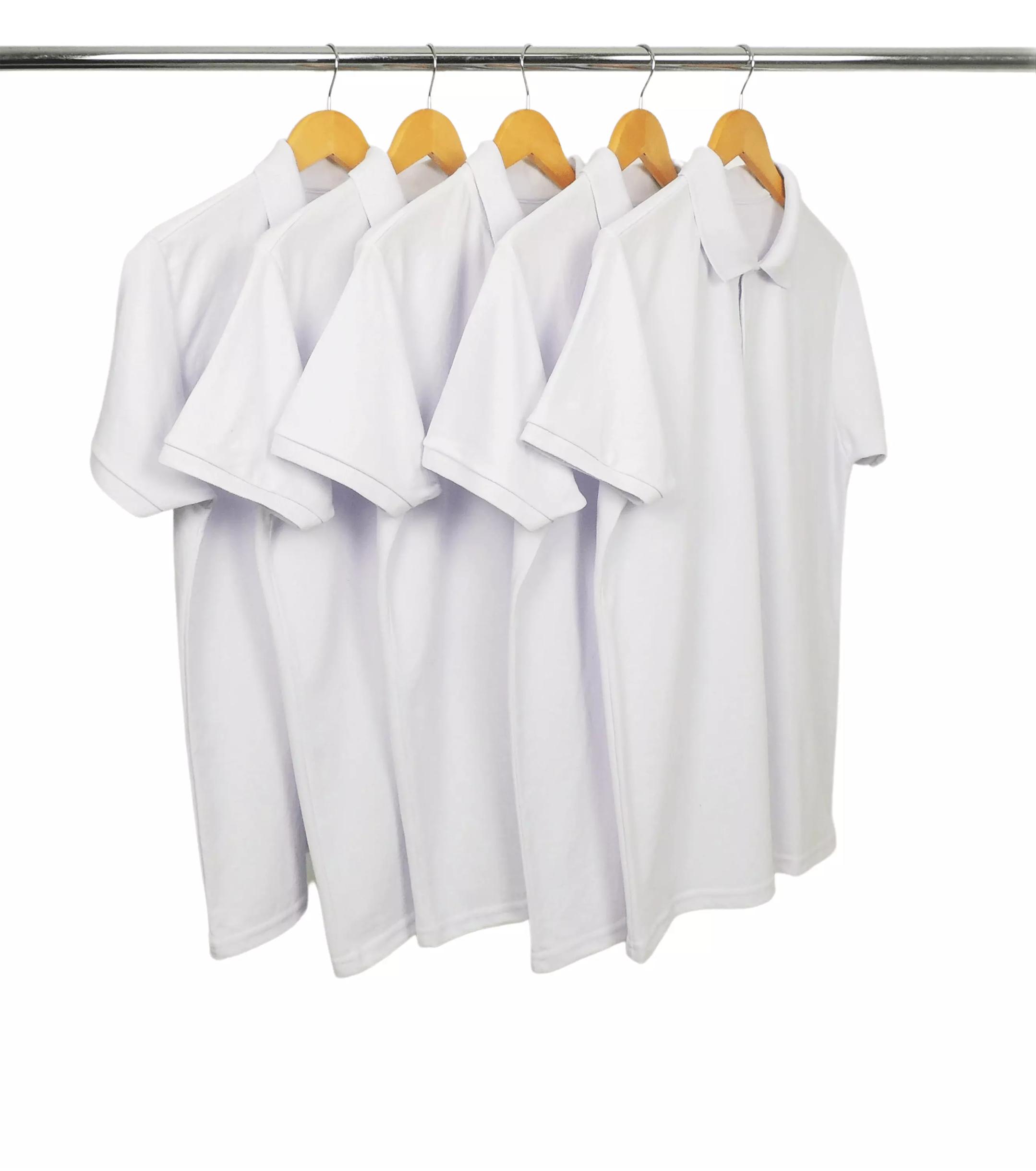 KIT 5 Camisas Polo Piquet de Poliéster/Sublimática Branca