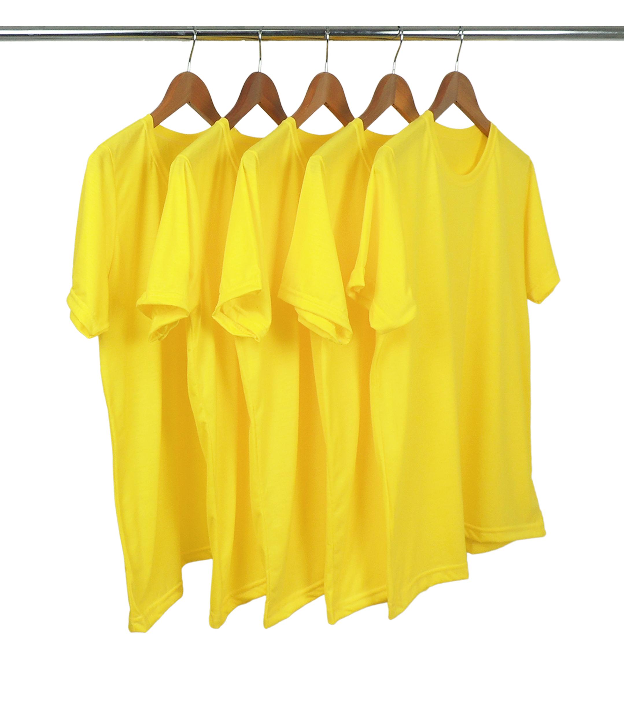 KIT 5 Camisetas de Poliéster/Sublimática Amarelo Canário