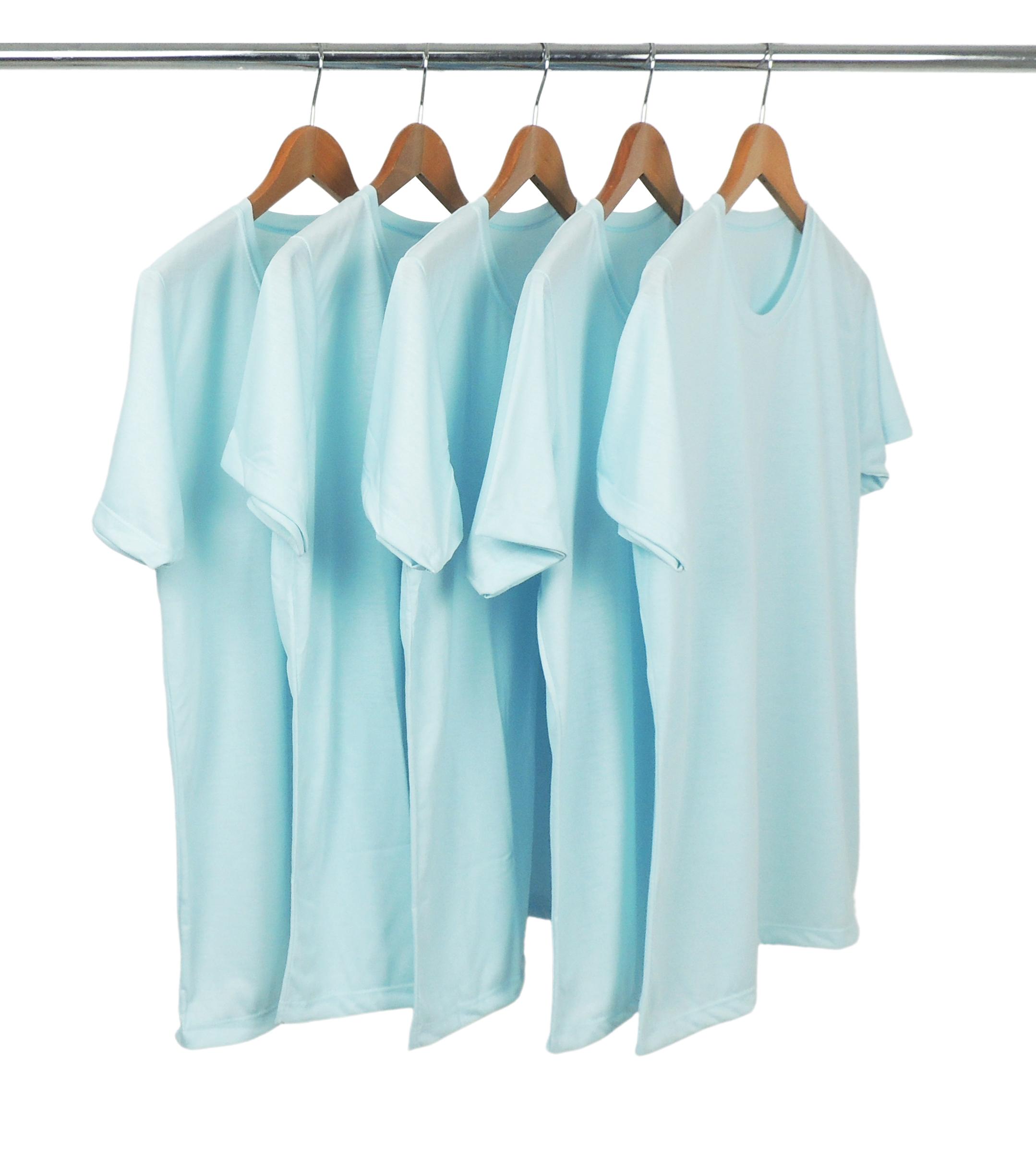 KIT 5 Camisetas de Poliéster/Sublimática Azul Bebê
