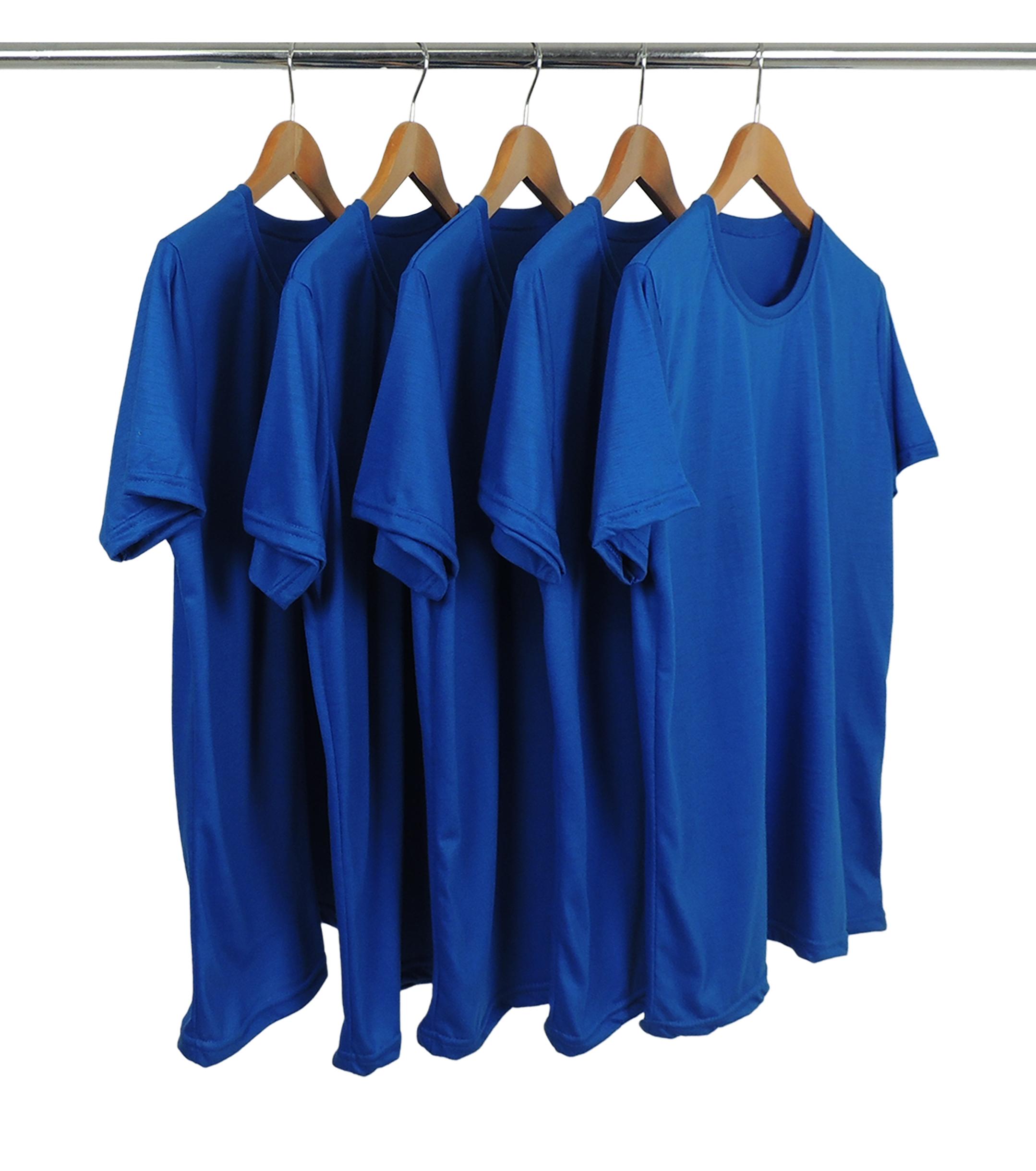 KIT 5 Camisetas de Poliéster/Sublimática Azul Royal
