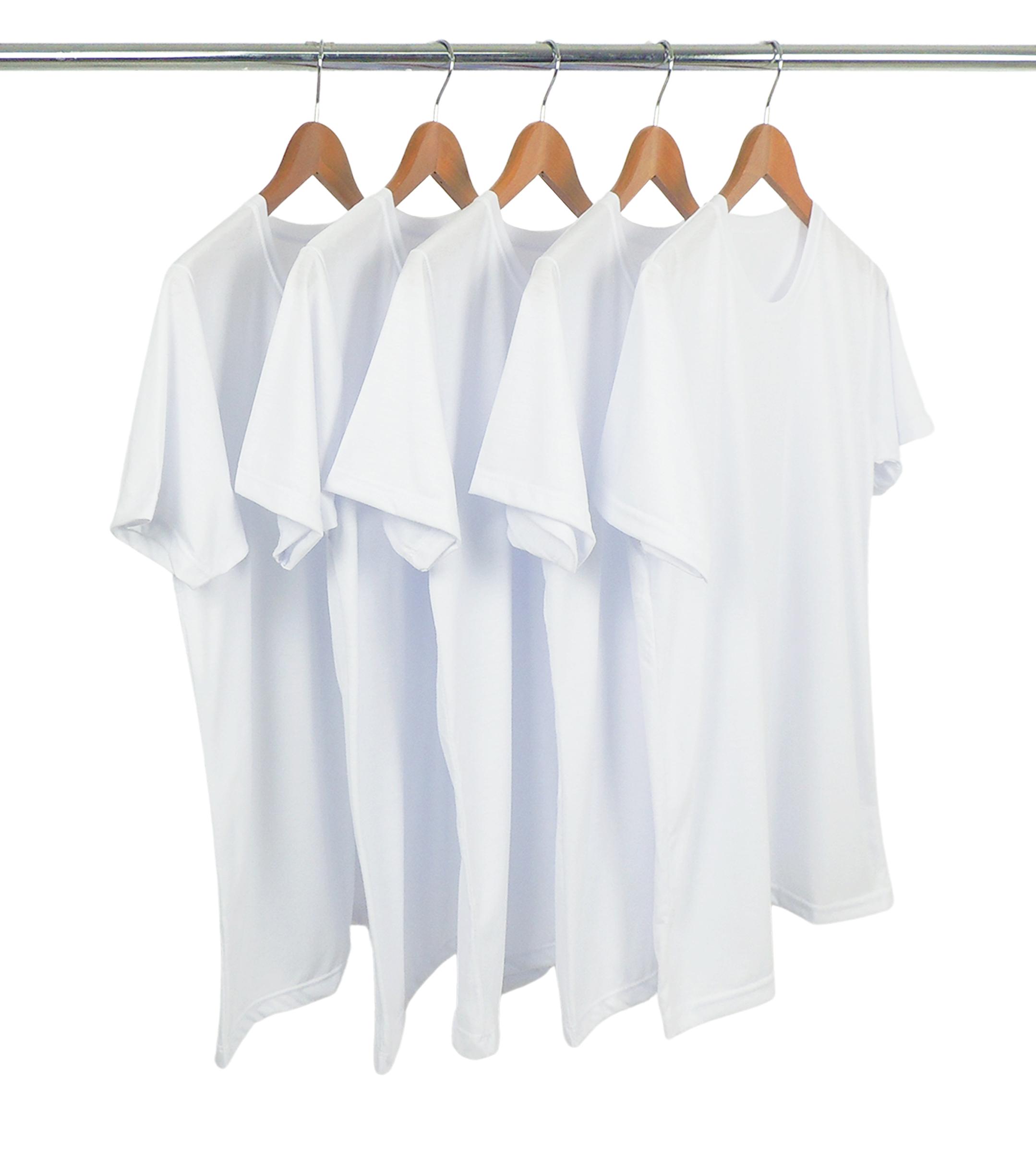 KIT 5 Camisetas de Poliéster/Sublimática Branca