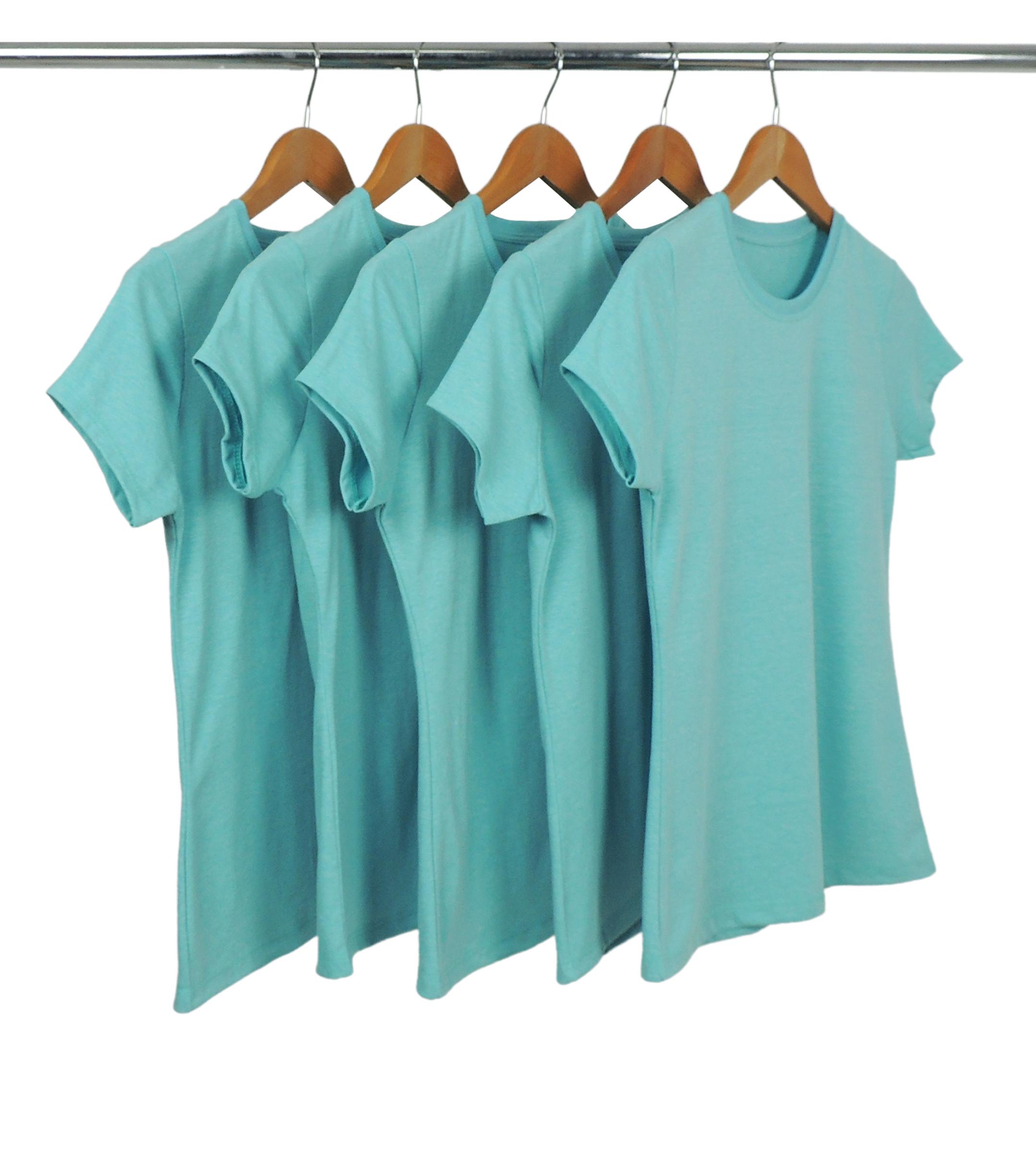 Kit 5 Camisetas Femininas Comfort Mescla Azul Turquesa