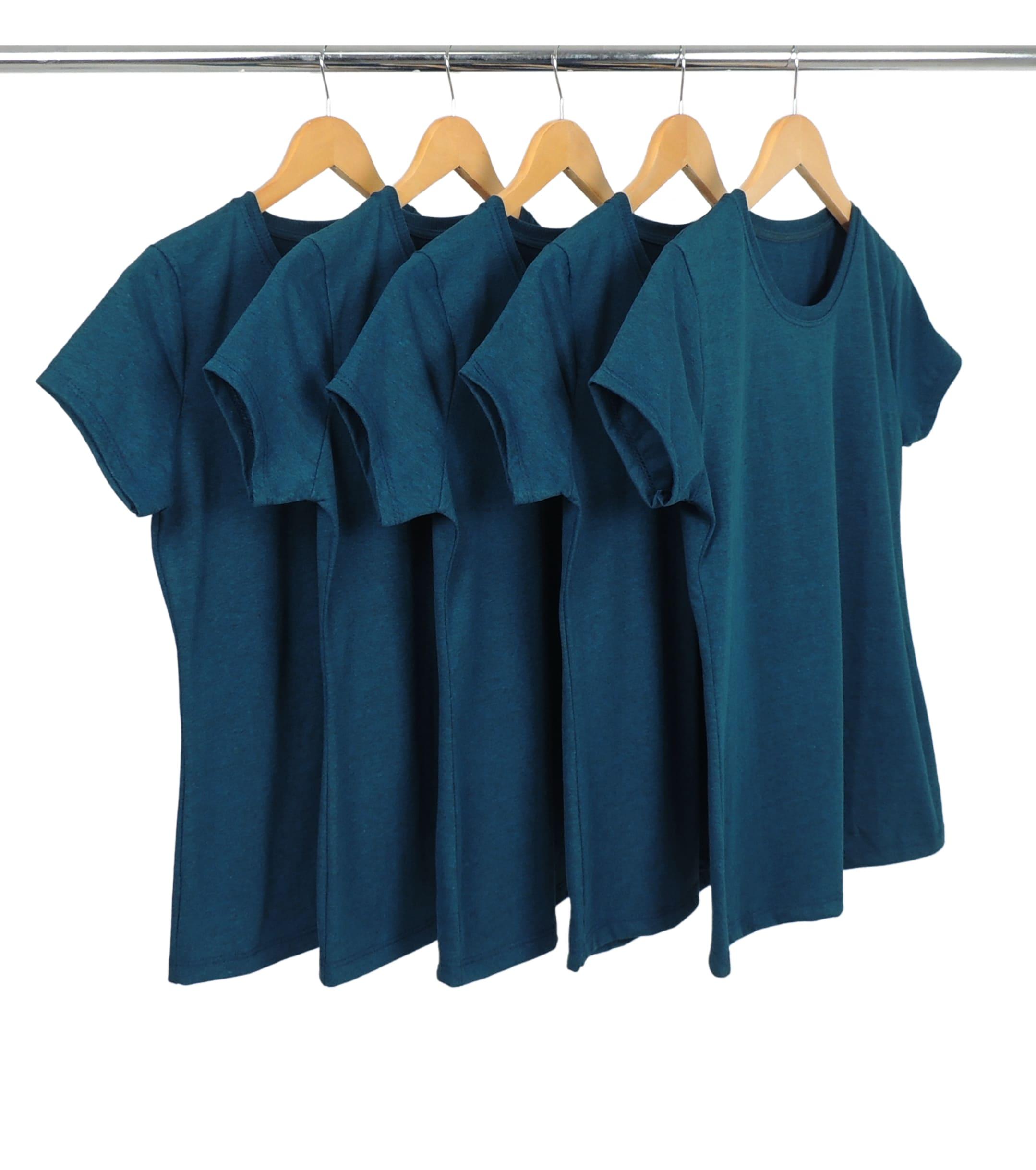 Kit 5 Camisetas Femininas Comfort Mescla Petróleo