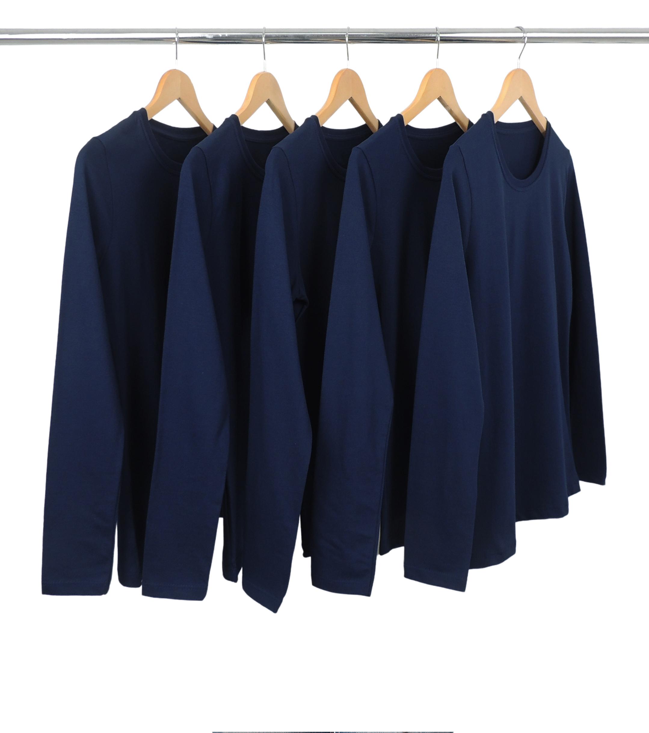 Kit 5 Camisetas Femininas Manga Longa de Algodão Premium Azul Marinho