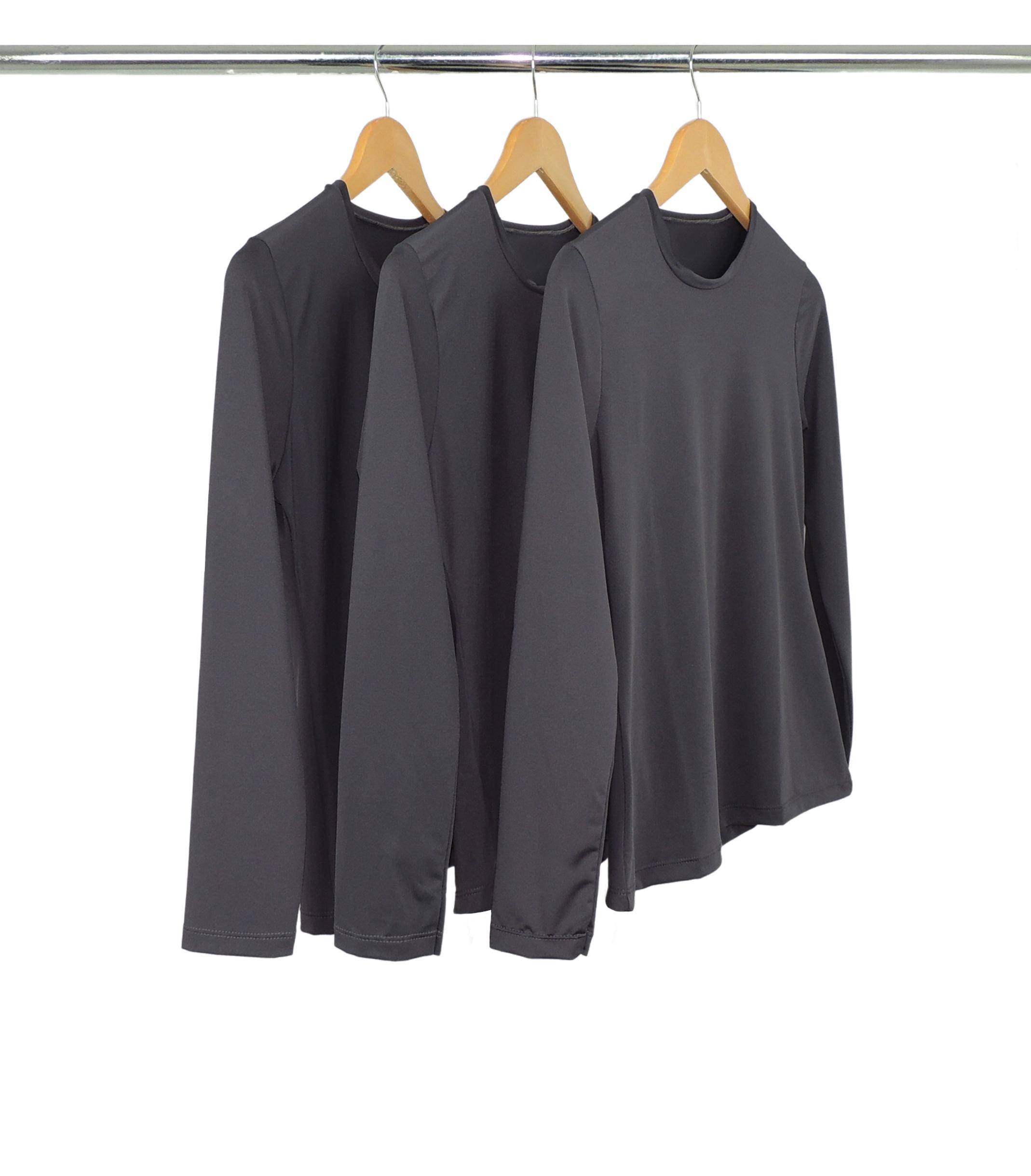 Kit 5 Camisetas Segunda Pele Manga Longa Feminina Cinza Chumbo UV 50+