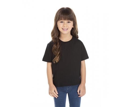 Camiseta Infantil de Algodão Penteado Preta