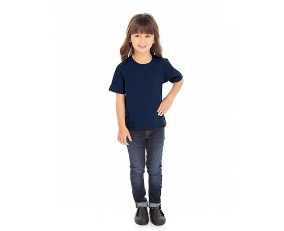 5 PEÇAS - Camiseta Infantil de Algodão Penteado Azul Marinho
