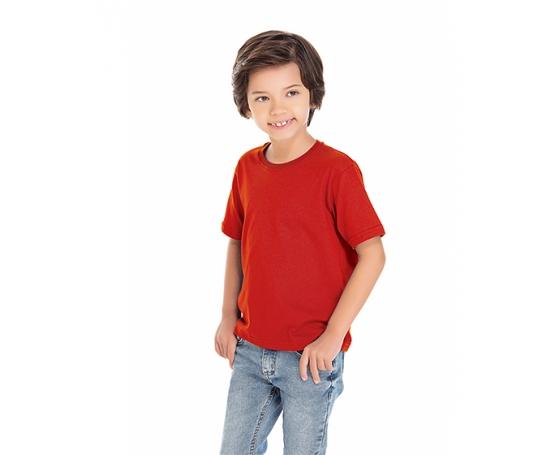 5 PEÇAS - Camiseta Infantil de Algodão Penteado Vermelha