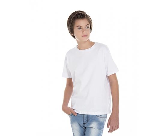 Camiseta Juvenil de Algodão Penteado Branca