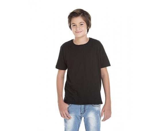 Camiseta Juvenil de Algodão Penteado Preta