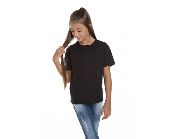 5 PEÇAS - Camiseta Juvenil de Algodão Penteado Preta