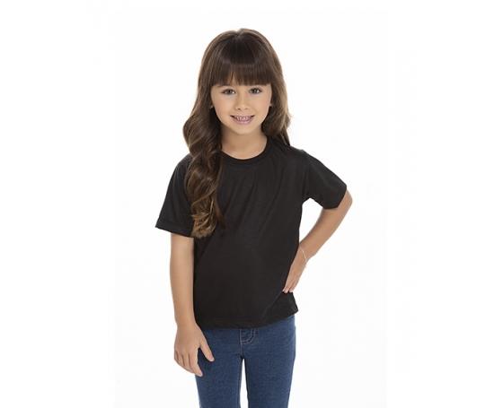 5 PEÇAS - Camiseta Infantil de Poliéster / Sublimática Preta