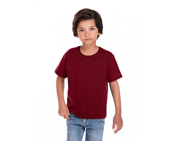 Camiseta Infantil de Algodão Penteado Bordô