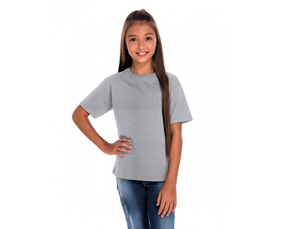 Camiseta Juvenil de Algodão Penteado Cinza Mescla