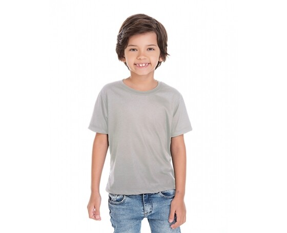 5 PEÇAS - Camiseta Infantil de Poliéster / Sublimática Cinza Claro