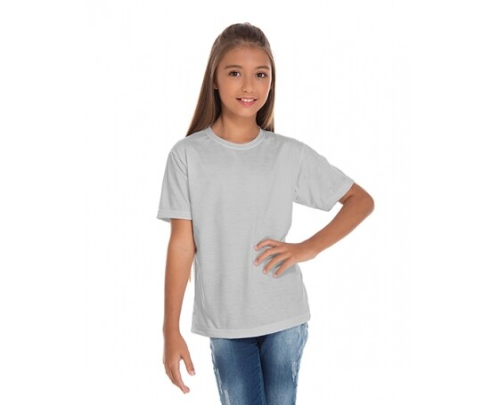 5 PEÇAS - Camiseta Juvenil de Poliéster / Sublimática Cinza Claro