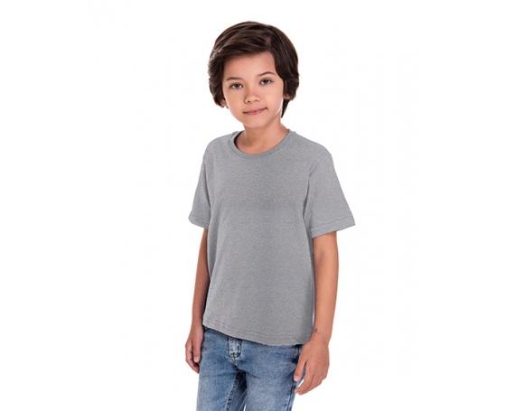 5 PEÇAS - Camiseta Infantil de Poliéster / Sublimática Cinza Mescla